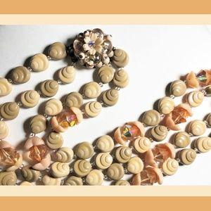 Vintage Peach Glass & Tan Lucite Faux Sea Shells